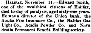 The Gazette (Montreal), November 12, 1884, page 1, column 7.