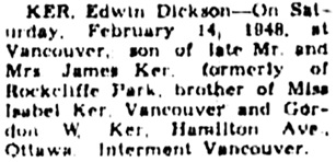 Ottawa Journal, February 19, 1948, page 28, column 2.
