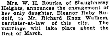 Vancouver Daily World, January 27, 1913, page 9, column 4.