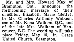 The Gazette (Montreal), May 1, 1953, page 21, column 1.