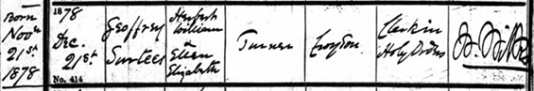 "Ancestry.com. Surrey, England, Church of England Baptisms, 1813-1912 [database on-line]. Provo, UT, USA: Ancestry.com Operations, Inc., 2013. Name: Geoffrey Surtees Turner; Birth Date: 21 Nov 1878; Baptism Date: 21 Dec 1878; Baptism Place: Croydon, St John, Surrey, England; Father: Elizabeth [sic"" Herbert] William Turner; Mother: Ellen Elizabeth Turner; Reference Number: 2888/1/19."