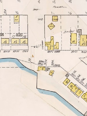 Gilford Street and Beach Avenue, detail from Insurance plan - City of Vancouver, July 1897, revised June 1903 - Sheet 45 - Comox Street to English Bay and Bidwell Street to Stanley Park.