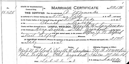 """Washington, County Marriages, 1855-2008,"" database with images, FamilySearch (https://familysearch.org/ark:/61903/1:1:QKNY-15HX : 3 November 2017), Harold H Sanderson and Ethel Urguhart, 21 Feb 1923, King, Washington, United States, State Archives, Olympia; FamilySearch digital folder 004213336."