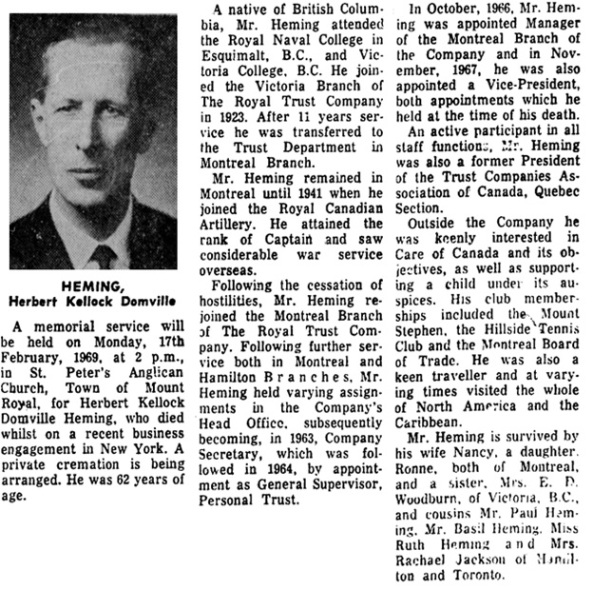 The Gazette (Montreal, Canada), February 17, 1969, page 43, column 1.