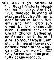 Montreal Gazette, April 22, 1981, page 91, column 7; https://news.google.com/newspapers?id=LpEjAAAAIBAJ&sjid=wKQFAAAAIBAJ&pg=2350%2C783170 [link leads to column 3; death notice is in column 7].
