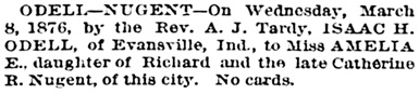 The Times-Picayune (New Orleans, Louisiana); March 12, 1876, page 8, column 3.