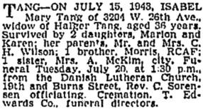 Vancouver Sun, July 19, 1943, page 14, column 2; https://news.google.com/newspapers?id=-SxmAAAAIBAJ&sjid=XIkNAAAAIBAJ&pg=6869%2C2159225.