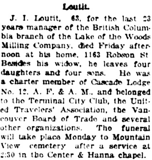 Vancouver Daily World, December 22, 1923, page 2, columns 5-6 [home address was actually 1123 Robson Street].