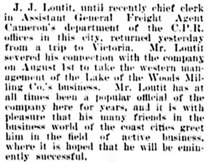 Vancouver Daily World, August 4, 1900, page 8, column 3.