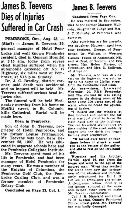 The Ottawa Journal, August 25, 1947, page 1, column 7; page 23, column 1.