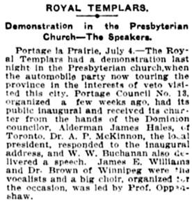 The Winnipeg Tribune, July 6, 1908, page 2, column 3.