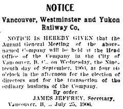 Vancouver Daily World, September 1, 1906, page 12, column 7.