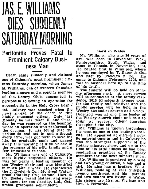 Calgary Herald, October 25, 1919, page 34, column 4; https://news.google.com/newspapers?id=QQ5kAAAAIBAJ&sjid=23oNAAAAIBAJ&pg=3646%2C6870774.