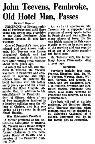 The Ottawa Citizen, June 20, 1951, page 14, columns 1-2.