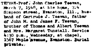 Chicago Tribune, March 10, 1948, page 30, column 5.
