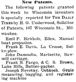 The Neenah Daily Times (Neenah, Wisconsin), April 27, 1895, page 5, column 6.