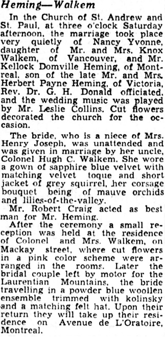 The Gazette (Montreal), October 9, 1939, page 14, columns 4-5.