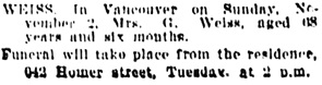 Vancouver Daily World, November 3, 1902, page 4, column 5.