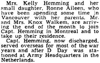 The Gazette (Montreal), November 23, 1945, page 15, column 3.