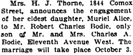 Vancouver Daily World, September 12, 1923, page 7, column 7.