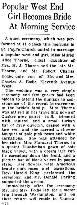 Vancouver Daily World, October 3, 1923, page 7, column 8.