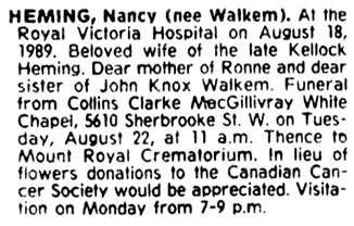 The Gazette (Montreal), August 21, 1989, page 43, column 2.