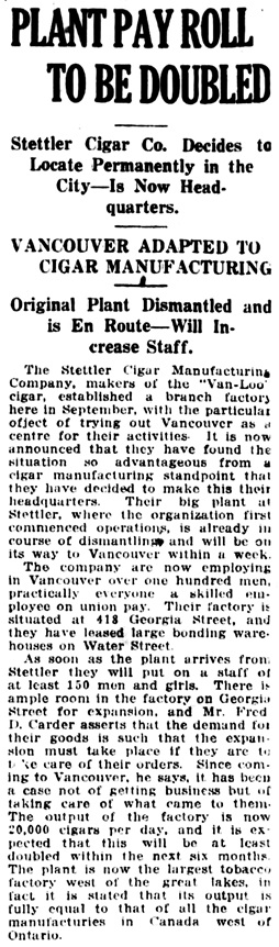 Vancouver Daily World, March 17, 1917, page 16, column 7.