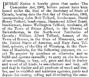 Telford Lumber Company, incorporation; The Canada Gazette, Part I, January 16, 1904, page 1298; https://archive.org/stream/canadagazettelag3721cana#page/1298 [initial portion].