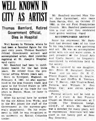 Victoria Daily Colonist, March 1, 1941, page 2, column 3; https://archive.org/stream/dailycolonist0341uvic#page/n1/mode/1up.