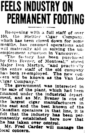 Vancouver Daily World, June 14, 1922, page 5, column 7.