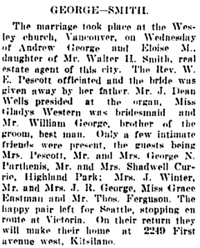 Vancouver Daily World, July 5, 1906, page 7, column 6.