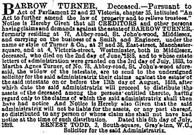 The Times (London, England); July 9, 1888, page 14, column 4.