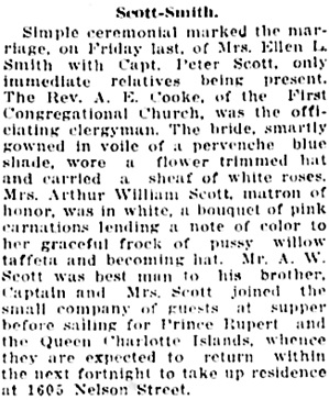 Vancouver Daily World, August 7, 1919, page 6, column 4.
