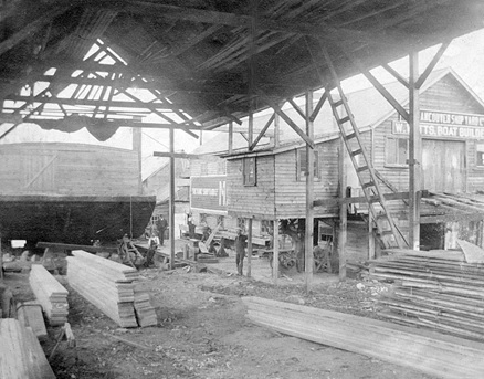 Exterior of Vancouver Shipyards Ltd. (W. Watts Boat Builder), 1877 West Georgia Street, 1904, Vancouver City Archives, Bu P213; https://searcharchives.vancouver.ca/exterior-of-vancouver-shipyards-ltd-w-watts-boat-builder-1877-west-georgia-street.