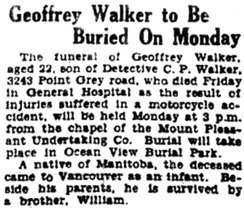 Vancouver Province, August 7, 1932, page 2. [Note: burial was in Mountain View Cemetery.]