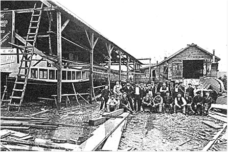 Group photograph of Vancouver Shipyard Co. Ltd employees, about 1902, Vancouver City Archives, Bo P524; https://searcharchives.vancouver.ca/group-photograph-of-vancouver-shipyard-co-ltd-employees.