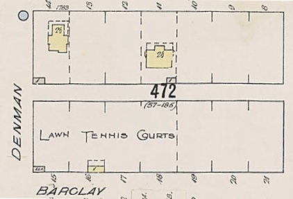 Lawn Tennis Courts, northeast corner of Denman Street and Barclay Street, detail from Insurance plan - City of Vancouver, July 1897, revised June 1901 - Sheet 43 - Coal Harbour to Comox Street and Bidwell Street to Stanley Park.