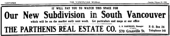 Vancouver Daily World, February 20, 1909, page 34.