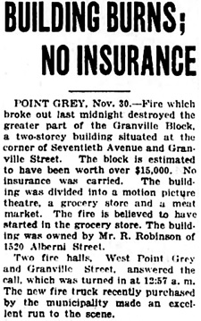 Vancouver Daily World, November 30, 1922, page 14, column 7.