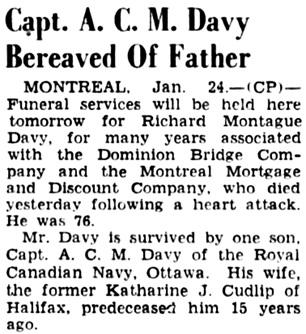 The Ottawa Citizen, January 25, 1946, page 9, column 4.