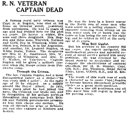The Winnipeg Tribune, August 24, 1912, page 8, column 2.