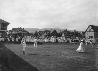 Vancouver Lawn Tennis Club - finals international - Tyler and Ballinger vs. Payne and Armstrong; 15 Aug. 1907; Vancouver City Archives, CVA 677-242; https://searcharchives.vancouver.ca/vancouver-lawn-tennis-club-finals-international-tyler-and-ballinger-vs-payne-and-armstrong.