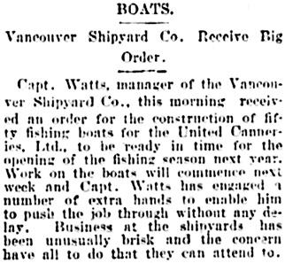Vancouver Daily World, December 11, 1902, page 1, column 6.