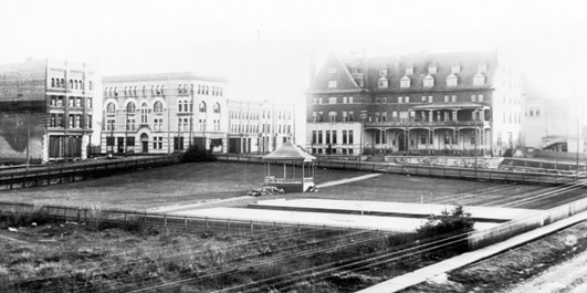 View across the C.P.R. Park towards Granville Street and Georgia Street, 1893, Vancouver City Archives; Hot P9; https://searcharchives.vancouver.ca/view-across-c-p-r-park-towards-granville-street-and-georgia-street.