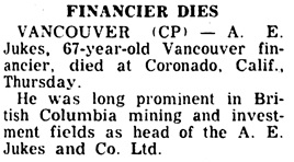 Nanaimo Daily News, December 31, 1954, page 3, column 3.