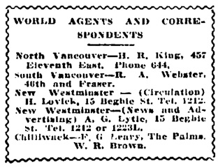 Vancouver Daily World, January 28, 1916, page 15, column 3.