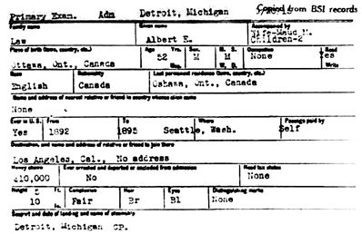 Ancestry.com. Detroit Border Crossings and Passenger and Crew Lists, 1905-1963 [database on-line]. Provo, UT, USA: Ancestry.com Operations Inc, 2006. Name: Albert E Law; Gender: Male; Age: 52; Nationality: English; Birth Date: abt 1863; Birth Place: Ottawa, Ontario, Canada; Arrival date: 20 Sep 1915; Arrival Place: Detroit, Michigan, USA; Accompanied by: Wife Maud M; Spouse: Maud M.