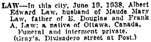The San Francisco Examiner, June 21, 1938, page 11, column 7.