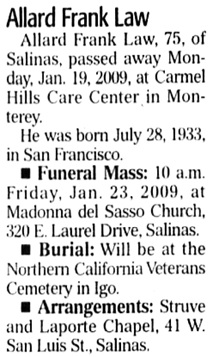 The Californian (Salinas, California), January 21, 2009, page 4, column 5.