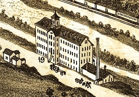 Alpaca Mill, Kent, Ohio, detail from Kent, Ohio historical map, 1882; http://www.elcheapoposters.com/index.php?route=product/product&product_id=12857; https://tedsvintagemaps.com/products/kent-ohio-1882-historical-map?variant=734548099088.